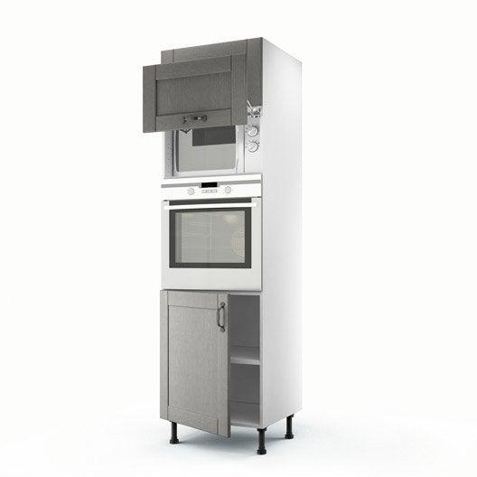 Meuble de cuisine colonne gris 3 portes nuage x x cm leroy merlin - Colonne de cuisine 60 cm ...