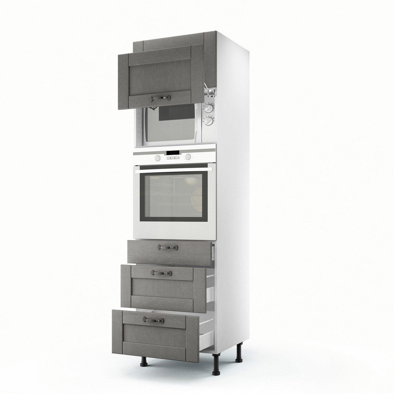 Meuble de cuisine colonne gris 2 portes 3 tiroirs nuage for Meuble 2 portes cuisine