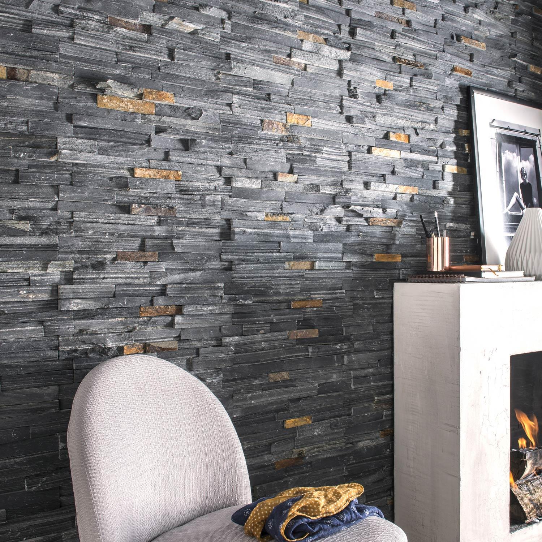 Plaquette de parement pierre naturelle noir Ardois | Leroy Merlin