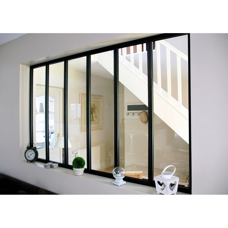 Verri re atelier en kit aluminium noir vitrage non fourni for Verre pour verriere interieure