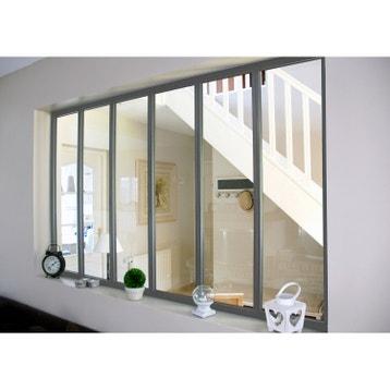 verrire atelier aluminium gris vitrage non fourni h108 x l183 - Cloison Verriere Pas Cher