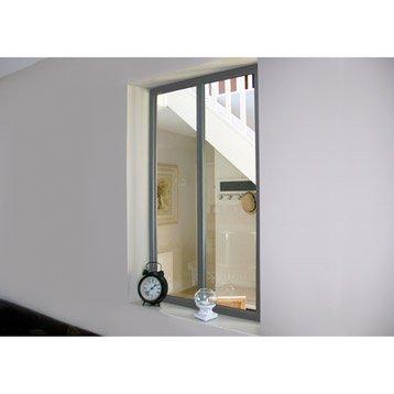 Verrière d'intérieur atelier en kit aluminium gris 2 vitrages, H.1.08 x l.0.63 m