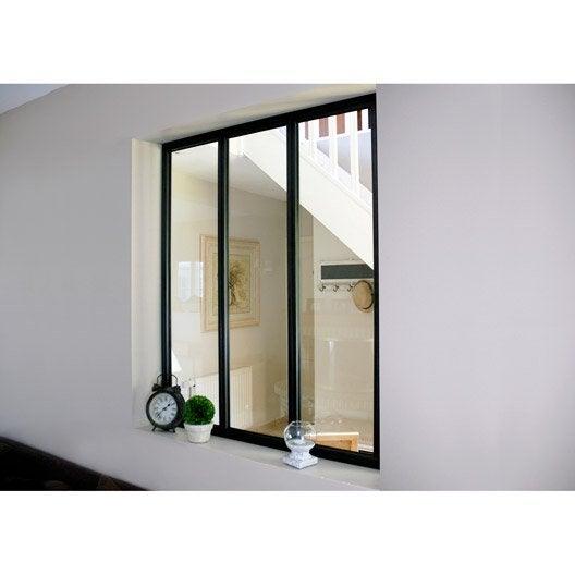 Verri re d 39 int rieur atelier en kit aluminium noir 3 vitrages h x l - Cout porte coulissante ...