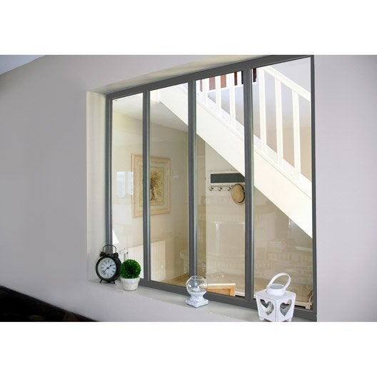 Verri re d 39 int rieur atelier en kit aluminium gris 4 for Verriere interieur prix