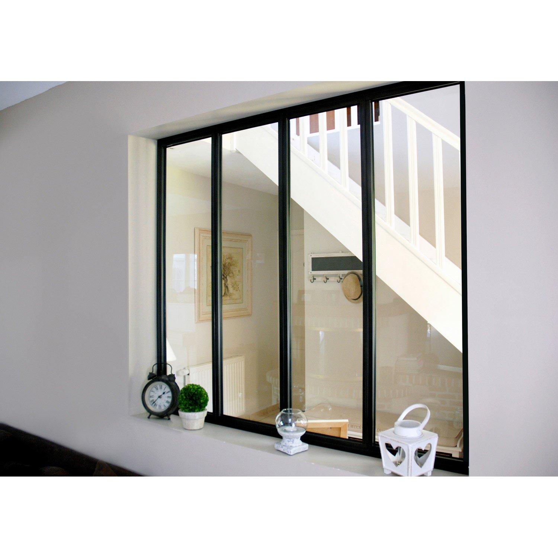 verri re d 39 int rieur atelier en kit aluminium noir 4 vitrages h x l m leroy merlin. Black Bedroom Furniture Sets. Home Design Ideas