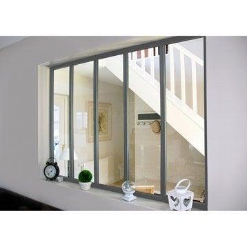 Verrière d'intérieur atelier en kit aluminium gris 5 vitrages, H.1.08 x l.1.53 m