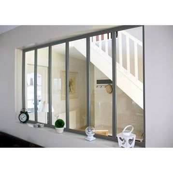 Verrière d'intérieur atelier en kit aluminium gris 6 vitrages, H.1.08 x l.1.83 m