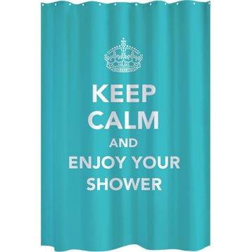 Rideau de douche en textile bleu atoll n°4 l.180 x H.200 cm, Keep calm SENSEA