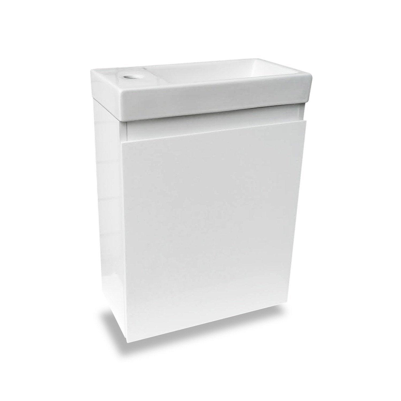 Meuble Lave Mains Sans Miroir Blanc L 40 X P 22 X H 48 Cm Nelys