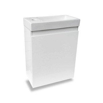 Meuble lave-mains sans miroir, Blanc, l.40 x p.22 x h.48 cm Nelys