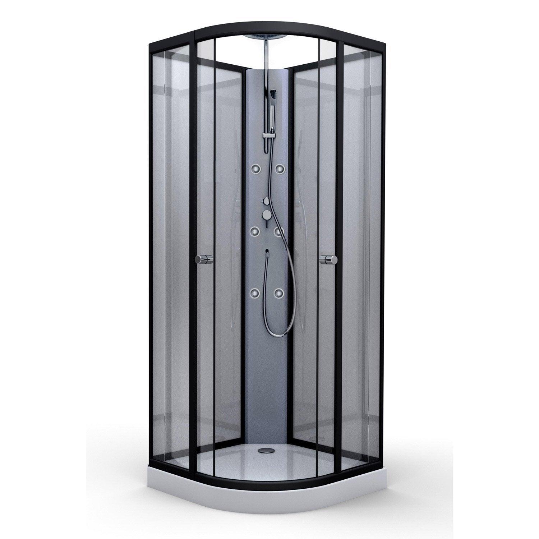 cabine douche hydro 1/4 de cercle l.85 x l.85 cm, verre transparent