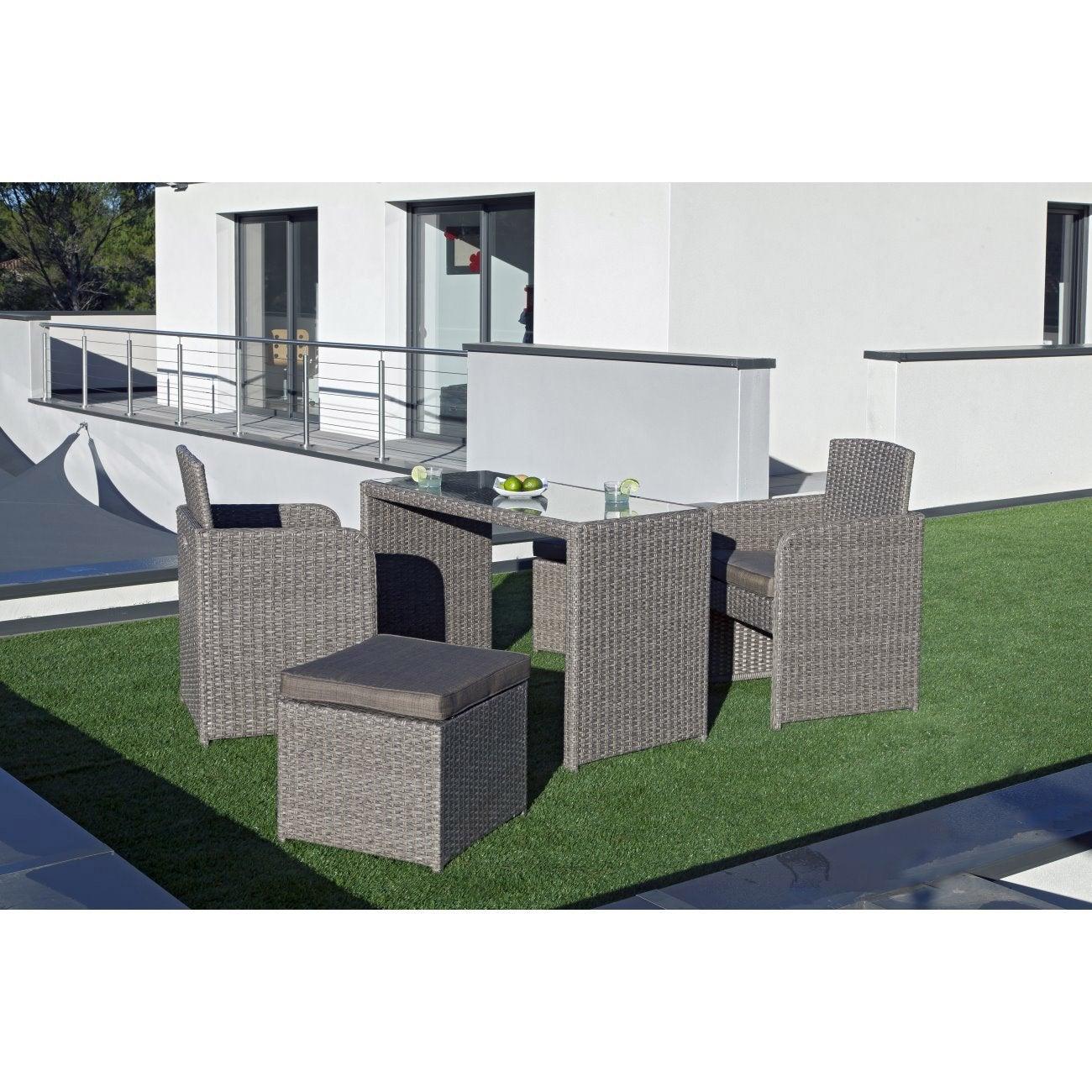 salon de jardin r sine tress e lilas gris vieilli 4 personnes leroy merlin. Black Bedroom Furniture Sets. Home Design Ideas