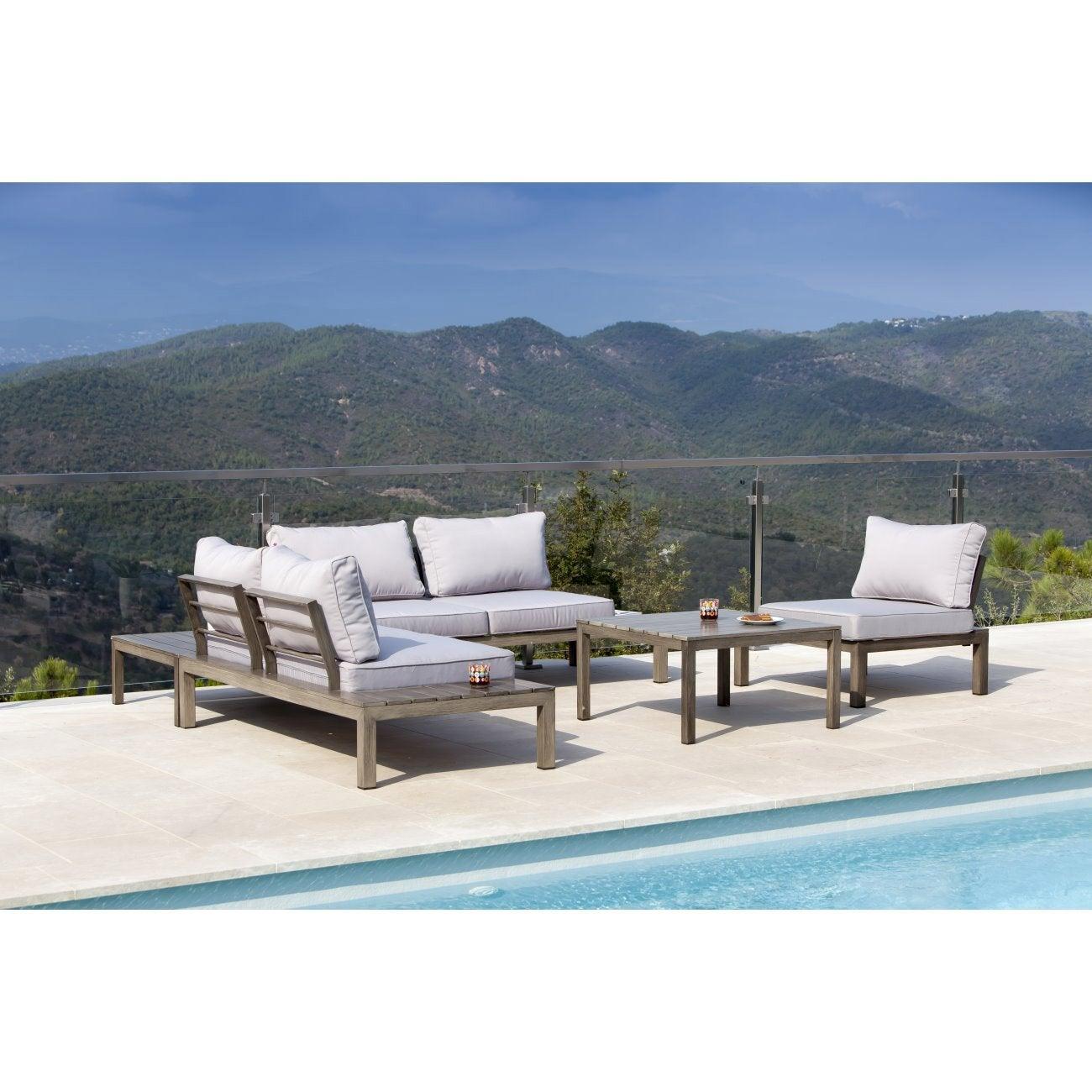salon de jardin tabac aluminium gris brun 5 personnes leroy merlin. Black Bedroom Furniture Sets. Home Design Ideas