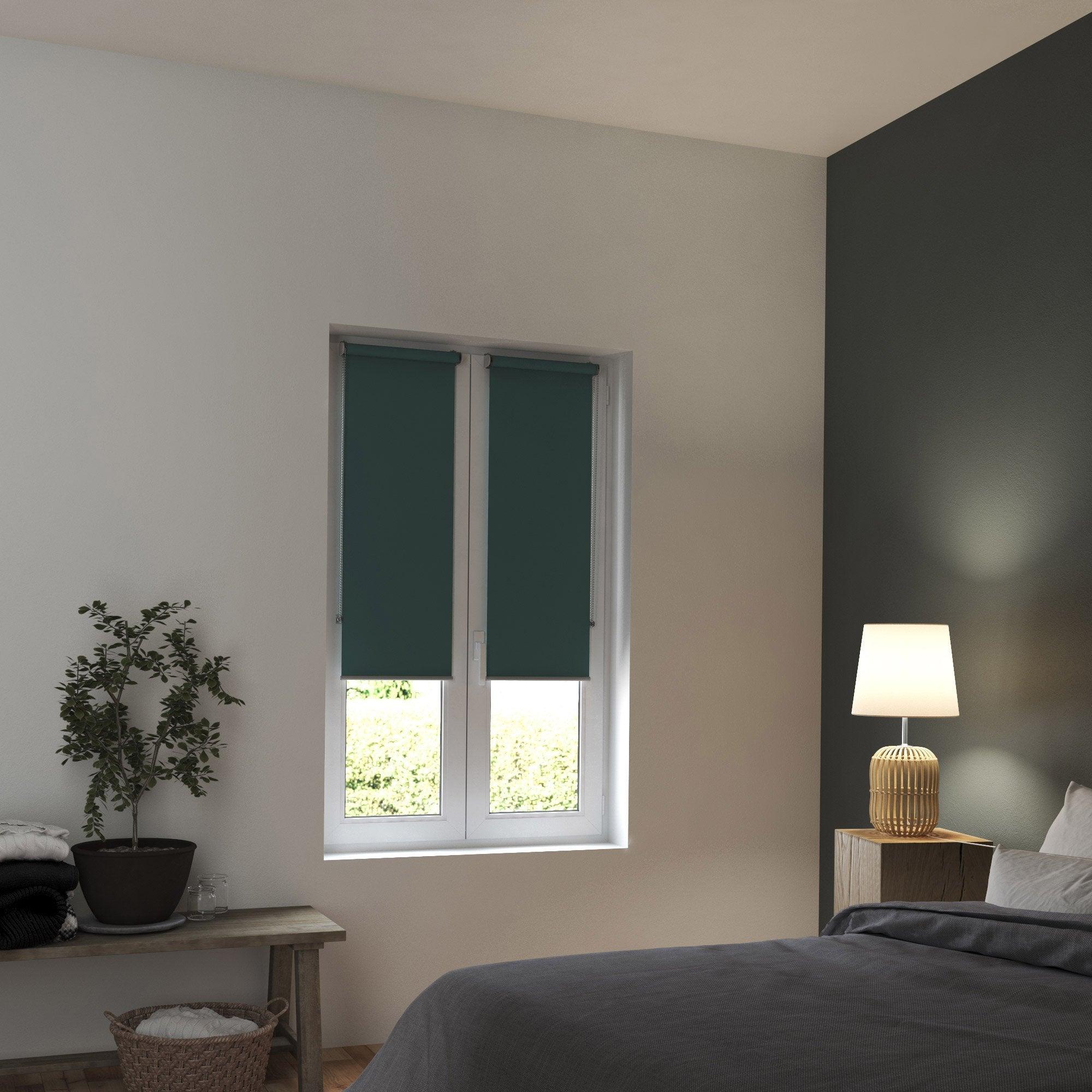 Store enrouleur occultant, vert, l.40 x H.160 cm