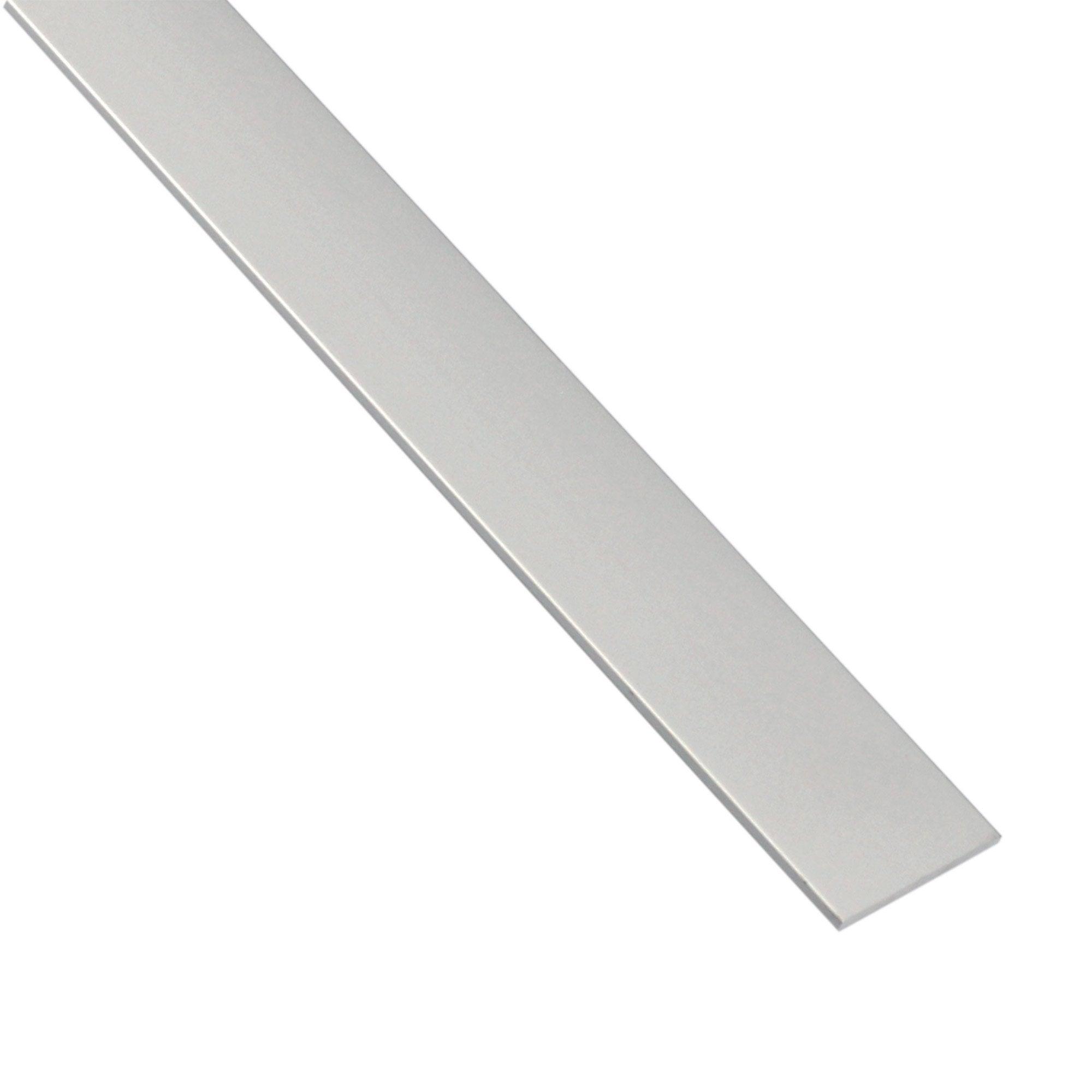 Plat Aluminium Anodisé Argent L26 M X L4 Cm X H03 Cm