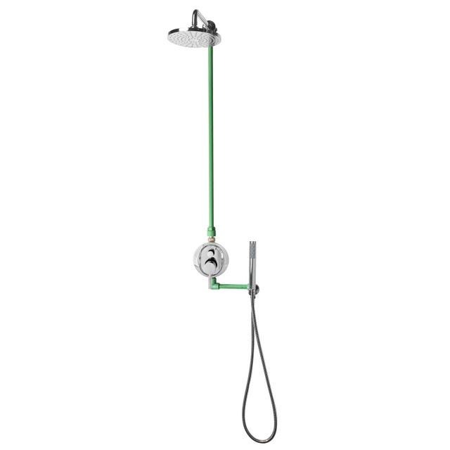 Des wc dans une salle de bains au style vintage leroy merlin - Comment fixer une colonne de douche ...