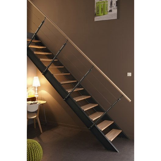 escalier droit lisa structure m tal marche bois leroy merlin. Black Bedroom Furniture Sets. Home Design Ideas