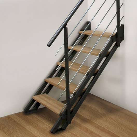 escalier modulaire escavario structure acier marche bois leroy merlin. Black Bedroom Furniture Sets. Home Design Ideas