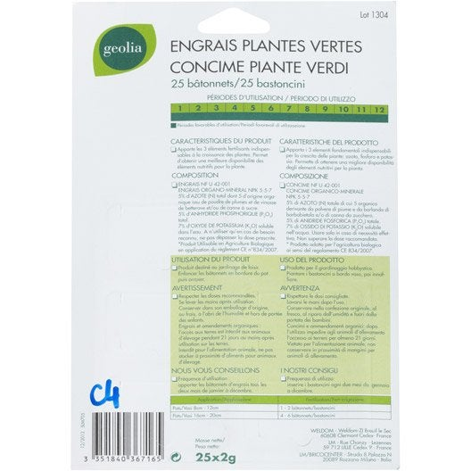 Engrais naturel plantes vertes GEOLIA 25 unités 12.5 m²