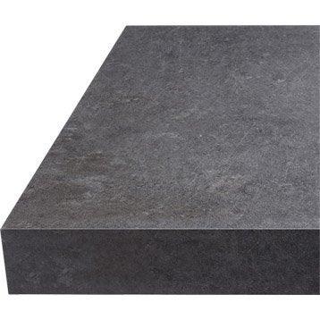 Plan de travail stratifié Effet béton gris Mat L.315 x P.65 cm, Ep.38 mm