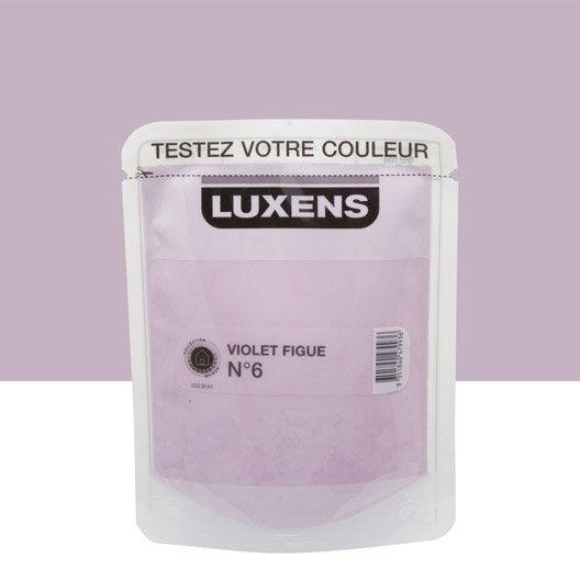 Testeur peinture violet figue 6 luxens couleurs int rieures satin l leroy merlin for Peinture couleur figue