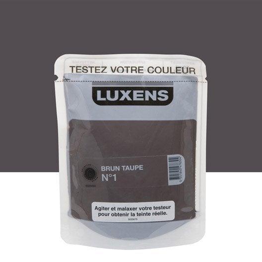 Testeur peinture brun taupe 1 luxens couleurs int rieures satin l leroy merlin for Peinture brun taupe