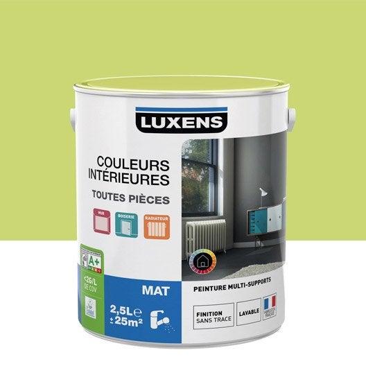 Peinture vert pistache 5 luxens couleurs int rieures mat 2 5 l leroy merlin for Peintures interieures leroy merlin