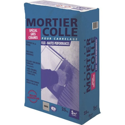 mortier colle flex gris 25 kg   leroy merlin