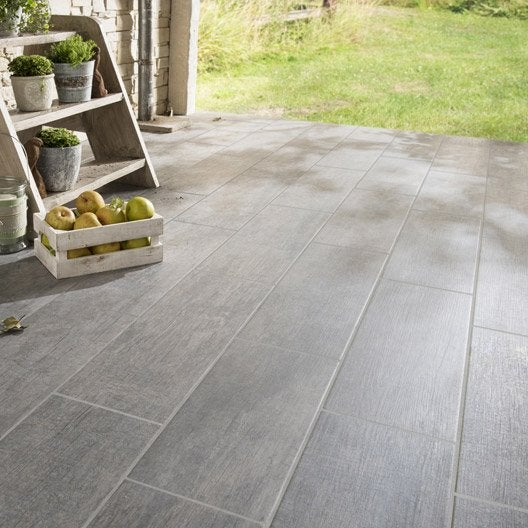 Carrelage sol anthracite effet bois river x cm - Carrelage terrasse point p ...
