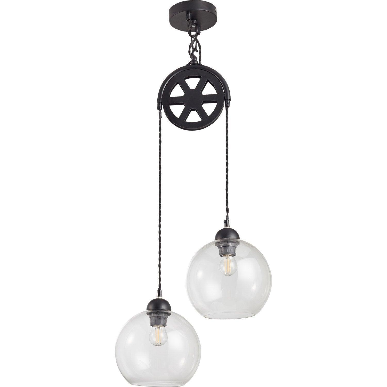 Industriel Suspension Poulie Verre Noir 2x40 Luminaire Style E27 W rxBdeCo