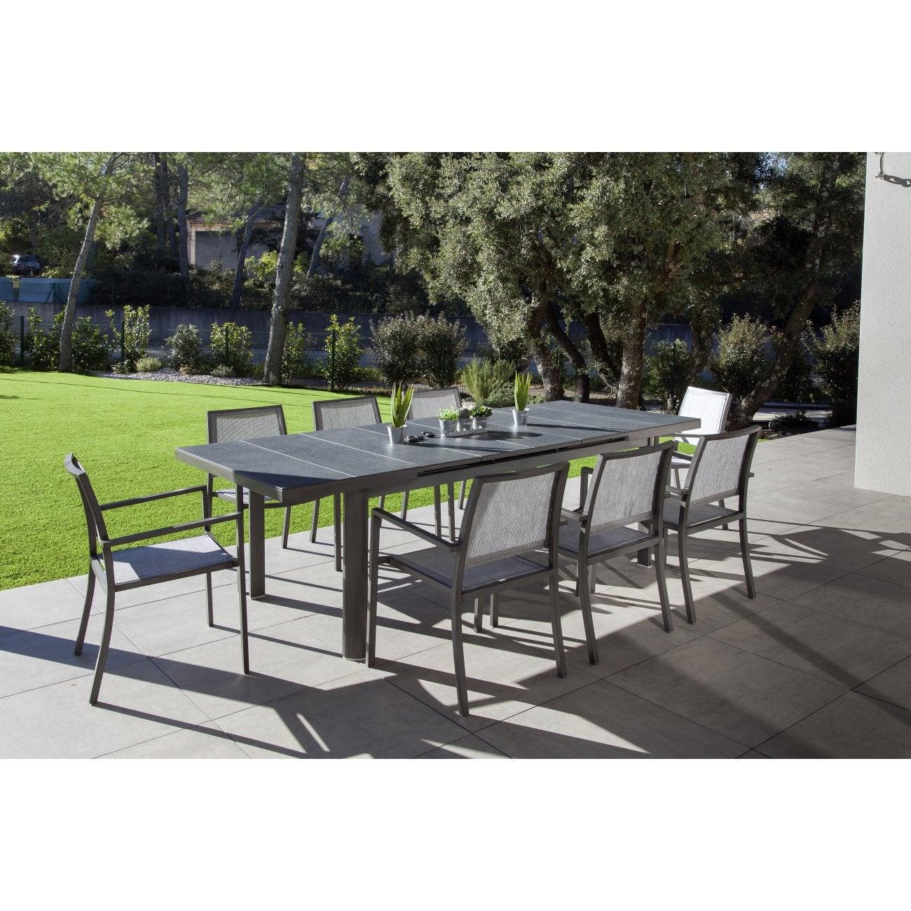 Table de jardin Myosotis rectangulaire gris 8 personnes