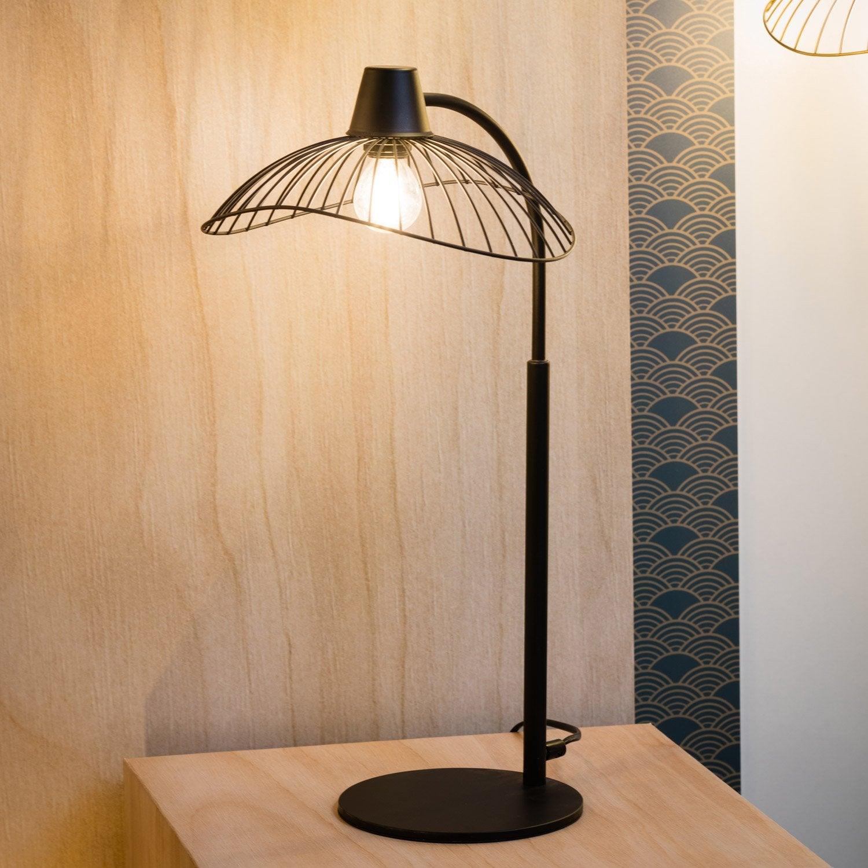 Lampe, design, métal noir, SEYNAVE Kasteli