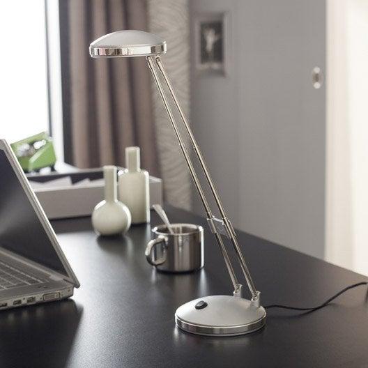 lampe de bureau led int gr e poser gris argent led. Black Bedroom Furniture Sets. Home Design Ideas