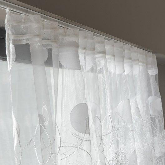 voilage grande largeur luna blanc x cm leroy merlin. Black Bedroom Furniture Sets. Home Design Ideas