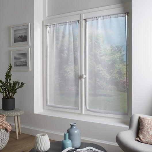 paire de vitrages glitter blanc x cm inspire leroy merlin. Black Bedroom Furniture Sets. Home Design Ideas