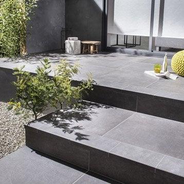 Carrelage noir effet béton Houston l.60 x L.60 cm