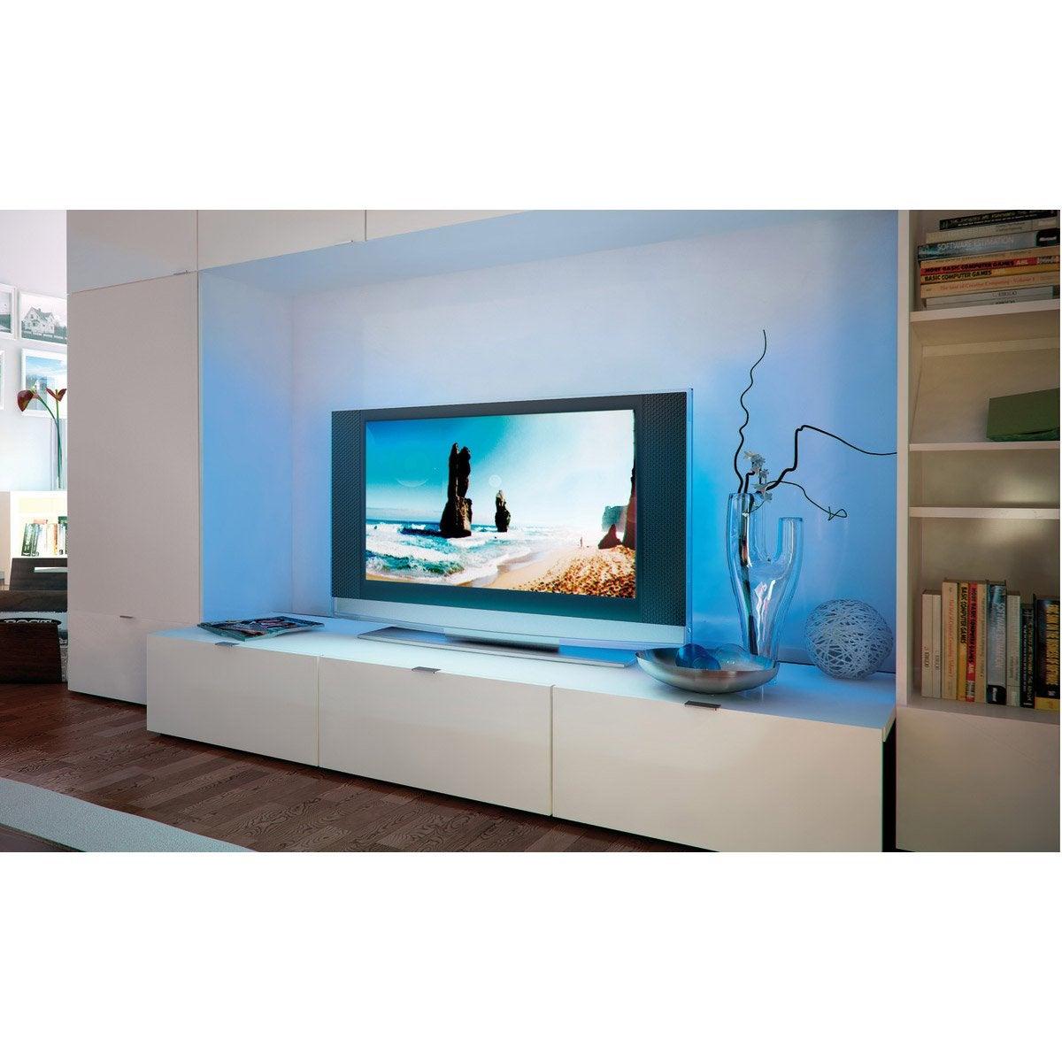 Ruban Led Tv 2 X 0 5m Multicolore 3000k Paulmann Leroy Merlin # Panneau Melamine Derriere La Tele