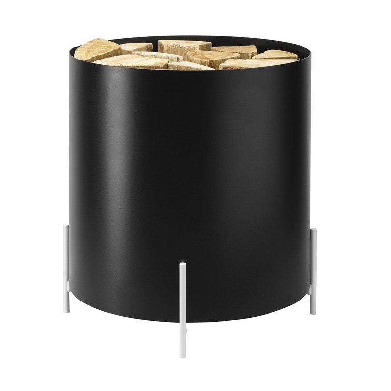 Panier à Bûches Noir Blanc Dixneuf Pop L40 X H45 Cm