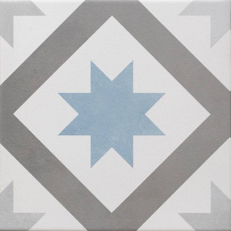 Carrelage sol et mur gris foncé bleu baltique effet ciment Gatsby l.20 x  L.20 cm