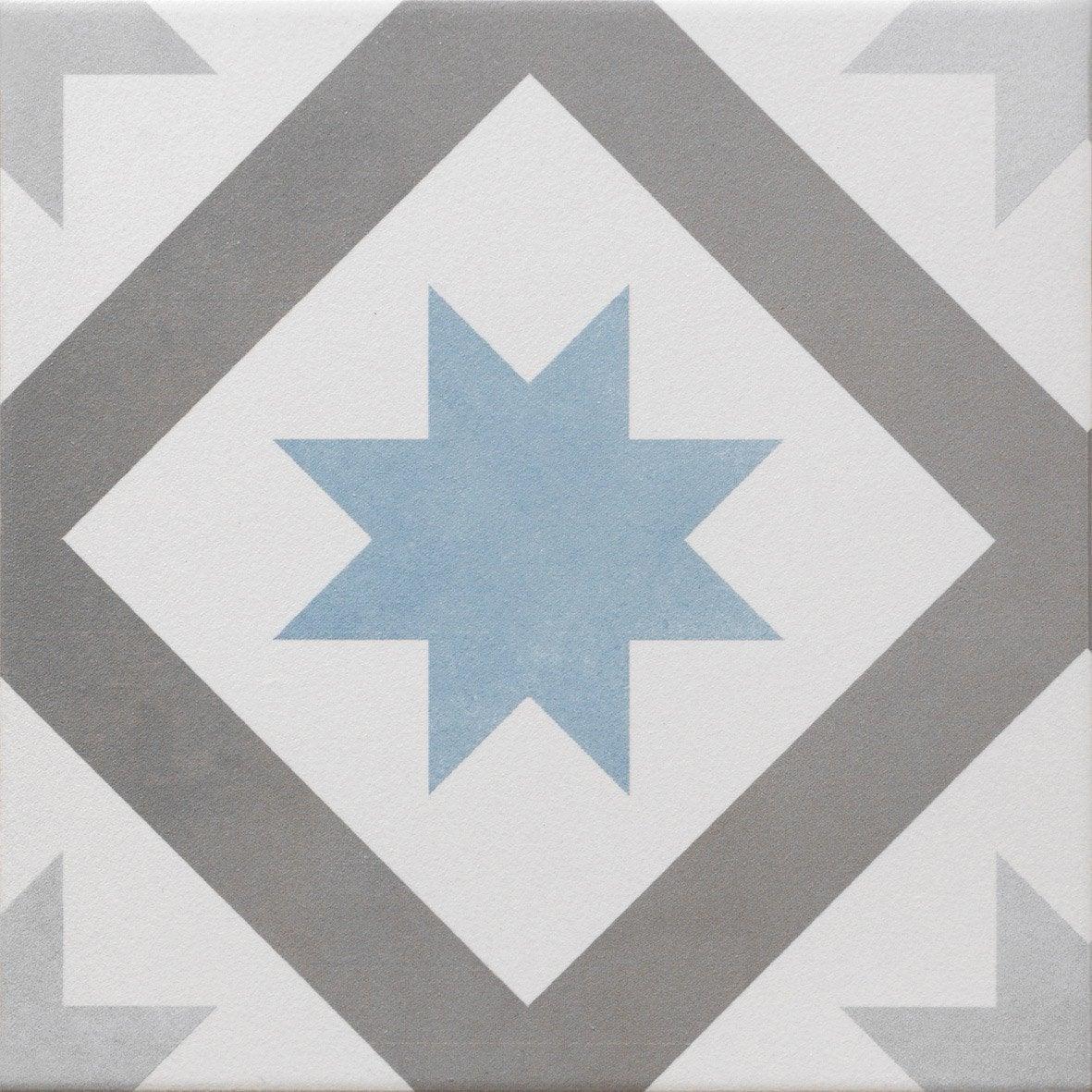 Carrelage sol et mur gris foncé bleu baltique effet ciment Gatsby l ...