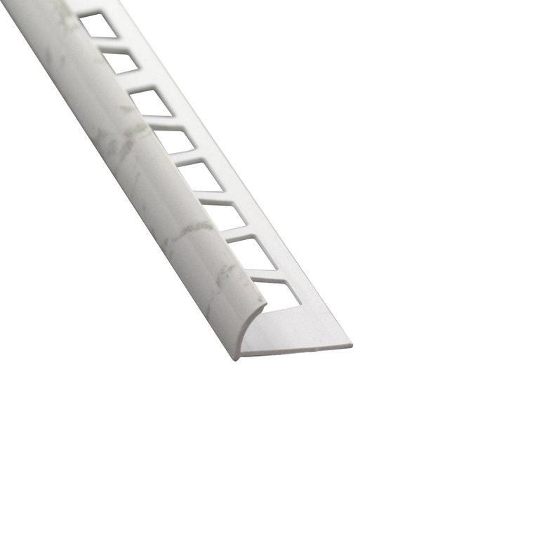Quart De Rond Mur Marbre Blanc Brillant Pvc Revêtu L250 Cm X Ep10 Mm