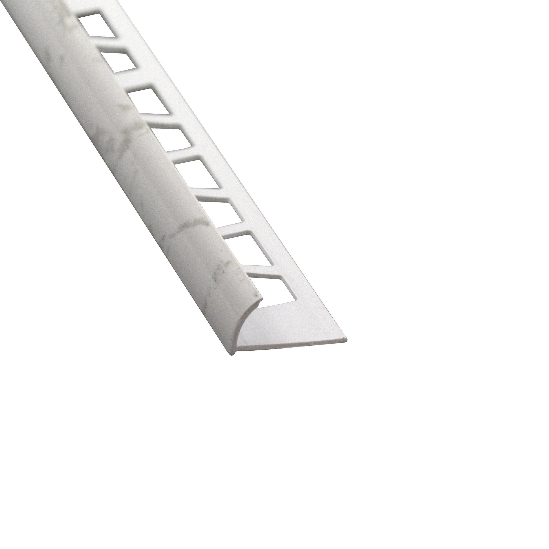 Poser Un Quart De Rond Carrelage quart-de-rond mur marbre blanc brillant pvc revêtu l.250 cm x ep.10 mm