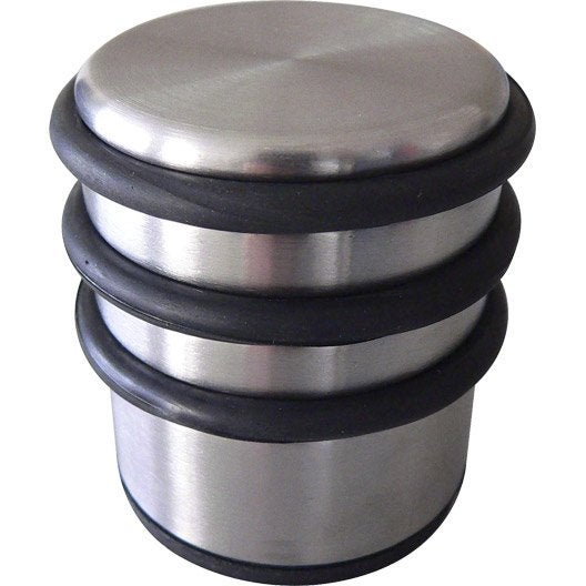 Bloque porte acier inoxydable brillant h 7 x l 6 7 x diam for Bloque fenetre pvc sans percer