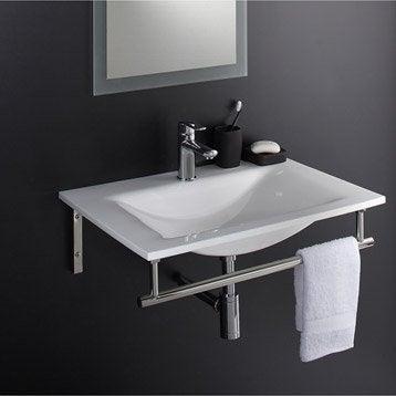 Plan vasque Artus blanc Verre 70 cm