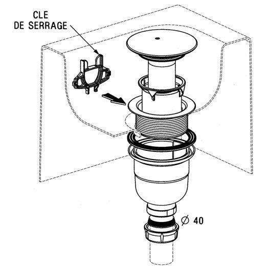 Bonde receveur de douche, Diam.90 mm, SAS