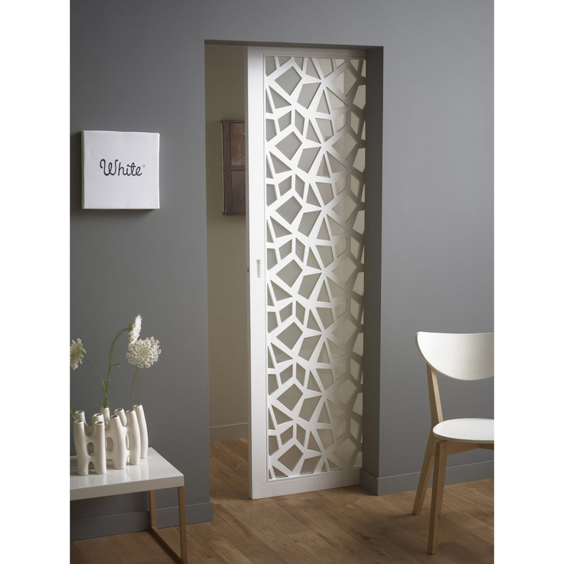 Porte Coulissante Plaque Blanc Crash Artens 204 X 73 Cm Leroy Merlin