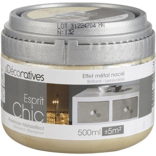 Peinture effet esprit chic m tal nacr les decoratives or 0 5 l leroy merlin for Peinture effet beton cire pour plan de travail