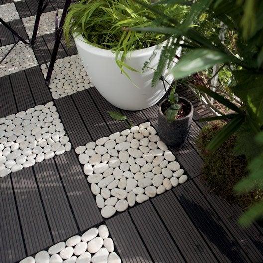 Dalle clipsable composite snap go gris x cm x for Caillebotis jardin