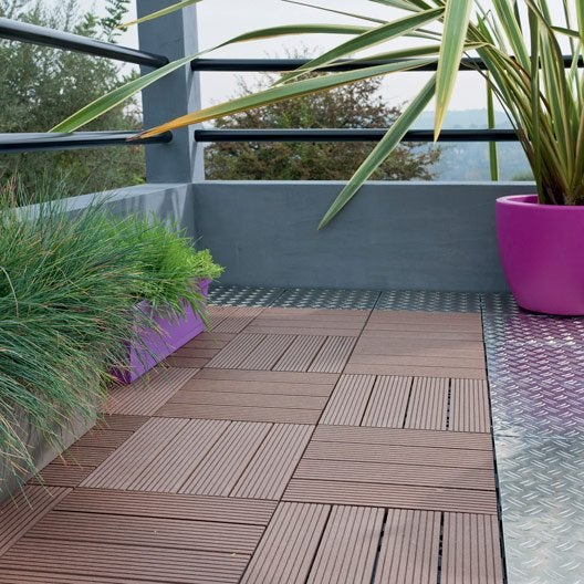 Dalle clipsable composite brun x cm x mm leroy merlin - Dalle terrasse composite 50x50 ...