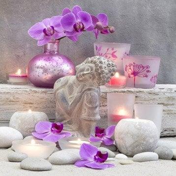 Toile led bouddha et bougies 30x30 cm for Miroir 90x30